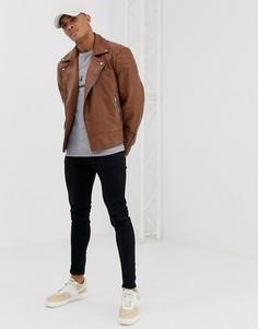 Светло-коричневая кожаная байкерская куртка ASOS DESIGN-Светло-коричневый