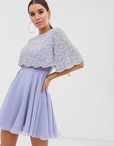 Платье мини с укороченным лифом и отделкой ASOS DESIGN-Мульти