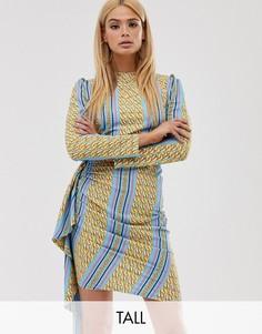 Синее платье мини с асимметричными оборками и принтом цепочек John Zack Tall-Мульти