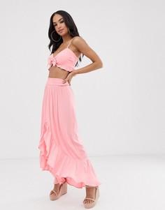 Розовая пляжная юбка с оборкой по краю River Island-Розовый