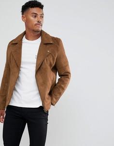 Светло-коричневая байкерская куртка из искусственной замши ASOS DESIGN-Светло-коричневый