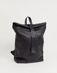 Черный кожаный рюкзак с ремешком спереди ASOS DESIGN