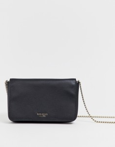Черная кожаная сумка через плечо с цепочкой Kate Spade-Черный