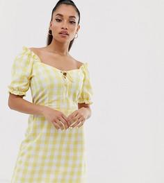 Желтое платье в клетку с добавлением льна и пышными рукавами Miss Selfridge Petite-Мульти