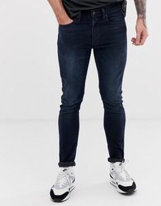 Темные выбеленные супероблегающие джинсы с заниженной талией Levis 519 - rajah advance-Синий