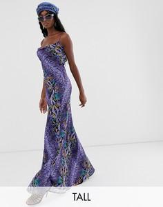 Фиолетовое платье макси на бретельках со змеиным принтом TTYA-Фиолетовый Taller Than Your Average