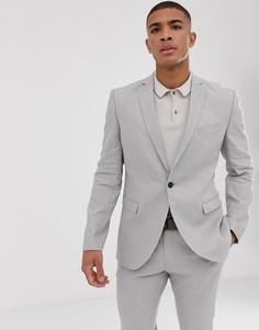 Светло-бежевый приталенный пиджак из эластичного льна Selected Homme