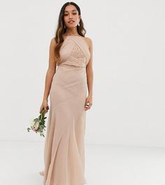 Платье макси для подружки невесты с лифом в стиле сарафана и юбкой годе ASOS DESIGN Petite-Розовый
