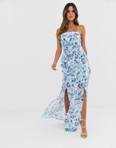 Платье-бандо макси с цветочным принтом и оборками TFNC-Мульти