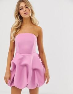 Платье-бандо мини с пышной кромкой ASOS DESIGN-Фиолетовый