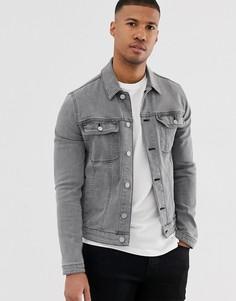 Серая приталенная джинсовая куртка в стиле вестерн ASOS DESIGN-Серый