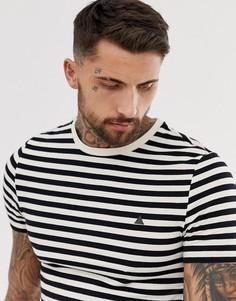 Обтягивающая футболка в полоску с треугольником на груди ASOS DESIGN-Белый