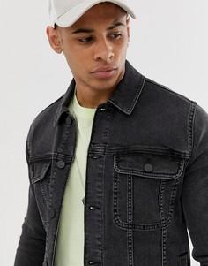 Черная выбеленная джинсовая куртка приталенного кроя в стиле вестерн ASOS DESIGN-Черный