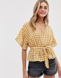 Желтая блузка в клеточку с поясом Miss Selfridge-Мульти