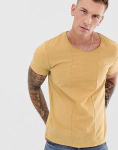 Желтая футболка со вставкой из крепа Jack & Jones Premium-Коричневый