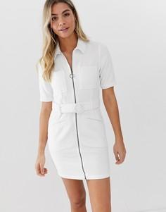 Белое вельветовое платье мини с поясом ASOS DESIGN-Белый