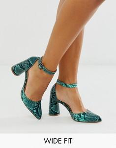 Туфли для широкой стопы на круглом каблуке со змеиным рисунком London Rebel-Зеленый