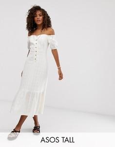 Фактурное платье миди на пуговицах и с открытыми плечами ASOS DESIGN Tall-Белый
