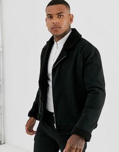Черная байкерская куртка с подкладкой из искусственного меха ASOS DESIGN-Черный