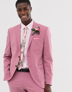 Розовый приталенный пиджак Selected Homme