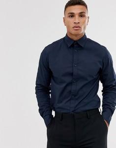 Темно-синяя рубашка из эластичного хлопка Jack & Jones-Темно-синий