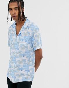 Синяя рубашка с отложным воротником и принтом AllSaints-Синий