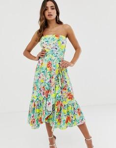 Летнее платье с цветочным принтом и оборками Naf Naf-Мульти