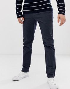 Темно-синие фактурные строгие брюки узкого кроя Selected Homme-Темно-синий