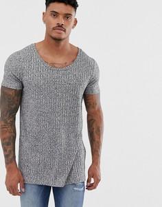 Серая длинная футболка в рубчик с глубоким овальным вырезом ASOS DESIGN-Серый