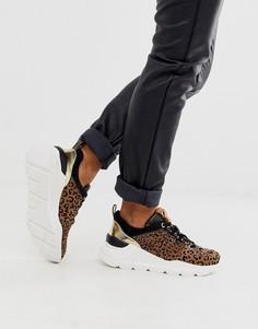 Кроссовки для бега с леопардовым принтом River Island-Коричневый