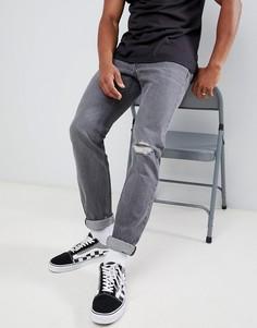 Серые узкие джинсы с рваной отделкой Lee-Серый
