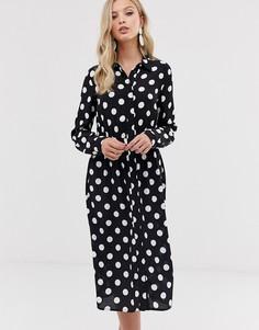 Платье-рубашка в горошек Y.A.S-Черный