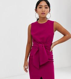 Платье-футляр малинового цвета без рукавов с узлом Paper Dolls Petite-Розовый