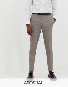 Строгие брюки скинни в красную и бежевую клетку ASOS DESIGN Tall-Коричневый