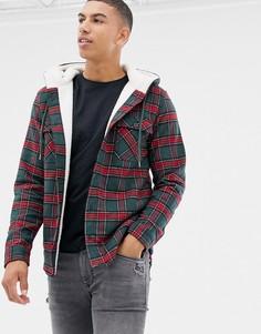 Куртка в клетку на подкладке из искусственного меха Another Influence-Зеленый