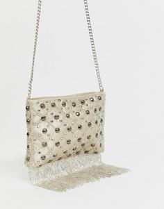 Белая сумка через плечо с пайетками Miss Selfridge-Белый
