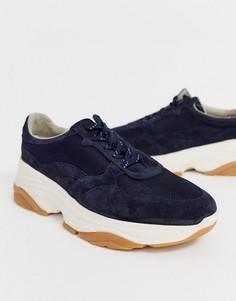 Темно-синие замшевые кроссовки на массивной подошве ASOS WHITE-Темно-синий