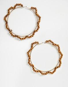 Большие золотистые серьги-кольца с деревянными бусинами ASOS DESIGN-Золотой