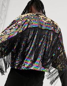 Фестивальная куртка с пайетками и бахромой Urban Threads-Мульти