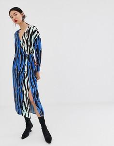 Платье с запахом и звериным принтом ASOS WHITE-Мульти