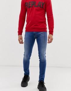 Выбеленные эластичные зауженные джинсы Replay Jondrill Power-Синий