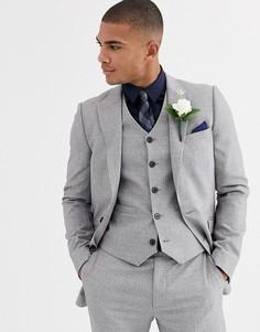 Серый зауженный пиджак ASOS DESIGN