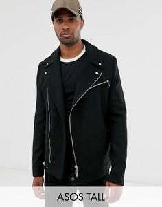 Черная байкерская куртка с добавлением шерсти ASOS DESIGN Tall-Черный