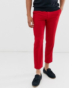 Ярко-красные строгие зауженные брюки ASOS DESIGN-Красный