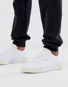Белые кроссовки с отделкой лимонного цвета Puma - Cali-Белый