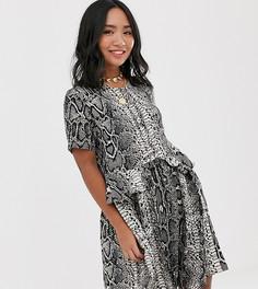Свободное платье с пуговицами и змеиным принтом Vero Moda Petite-Мульти