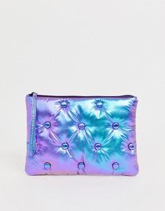 Дутый клатч с заклепками и голографическим принтом ASOS DESIGN-Фиолетовый