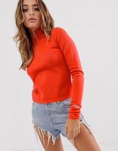 Красная укороченная футболка с длинным рукавом и тремя полосками adidas Originals TLRD-Красный