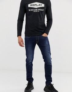 Синие эластичные узкие джинсы Replay Anbass Power-Синий