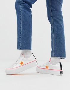 Бело-оранжевые кроссовки на платформе converse all star-Белый